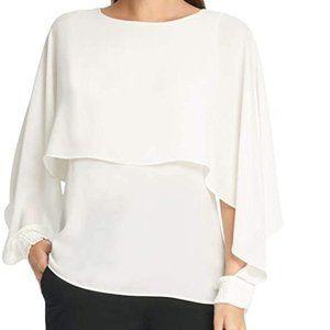 DKNY chiffon blouse white Sz XL